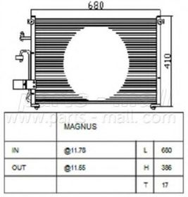 Радиатор кондиционера Parts-Mall PXNCC-017